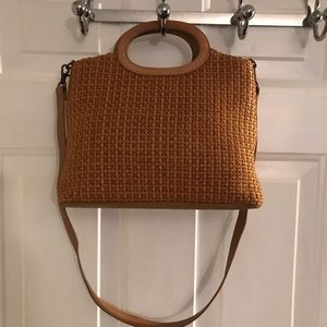 Fossil Tan Brown Leather Woven Satchel Clutch Bag